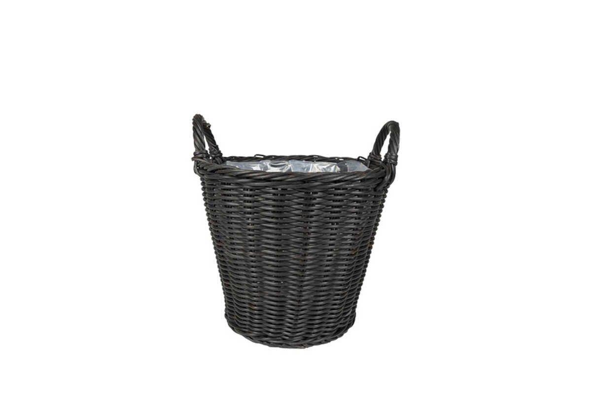 Nanna Basket W/Handle Stackable - Black D44
