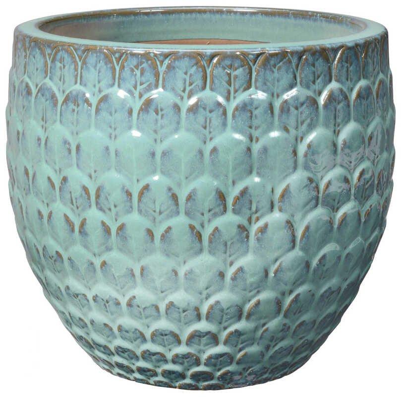 Egg Pot S/3 Green w/ pattern