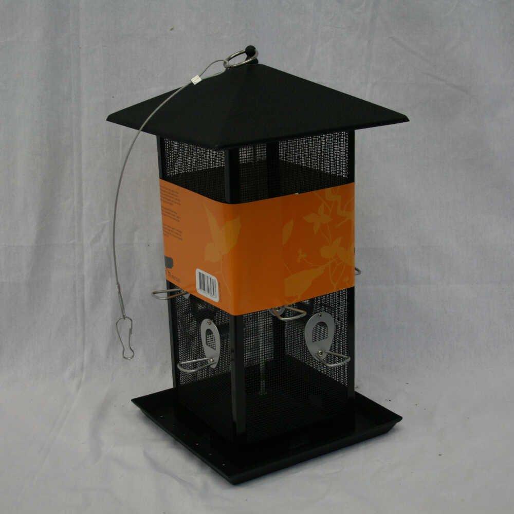 Firkantet Fuglefoderautomat til frø og plads til mange fugle