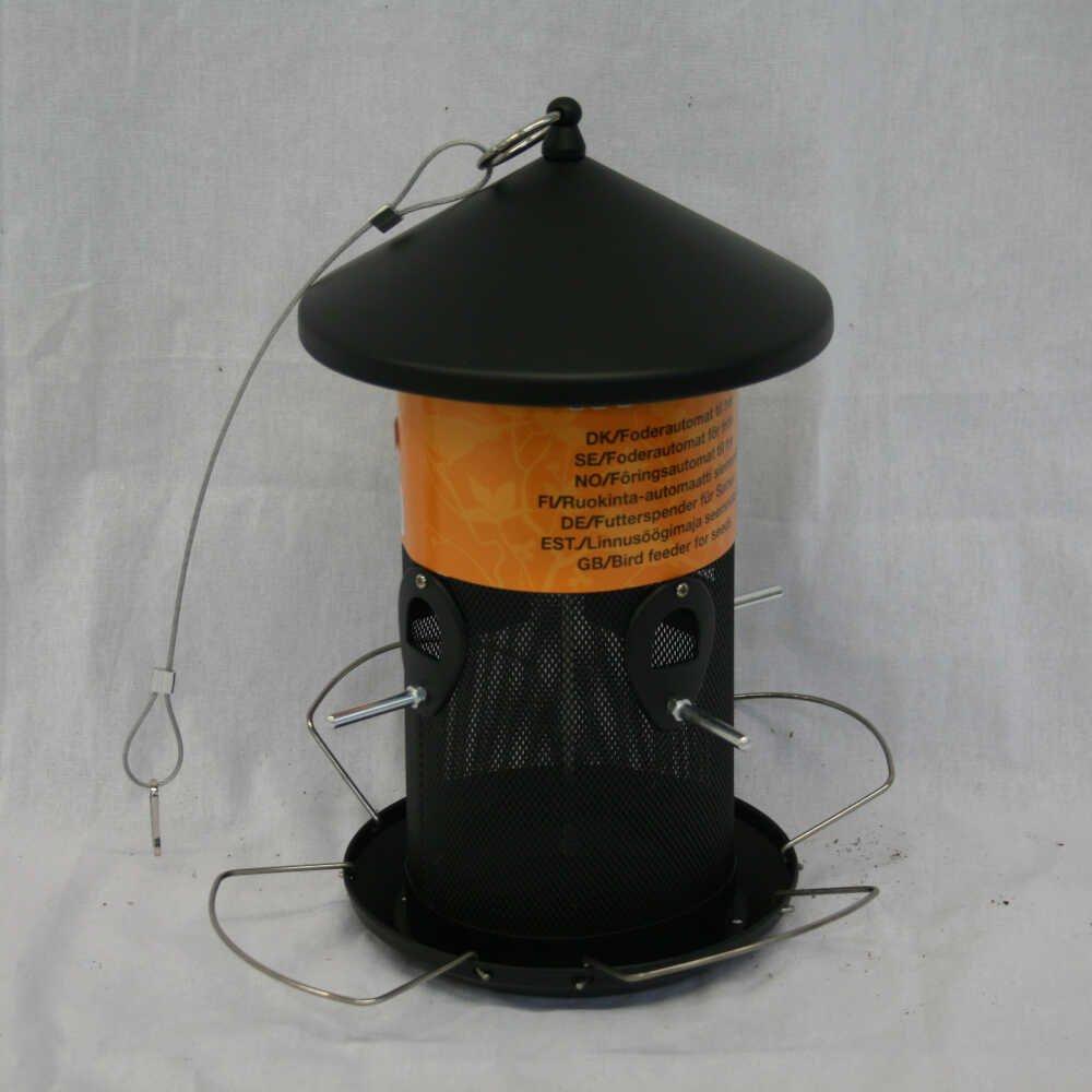 Fuglefoderautomat til frø - Sort metal model