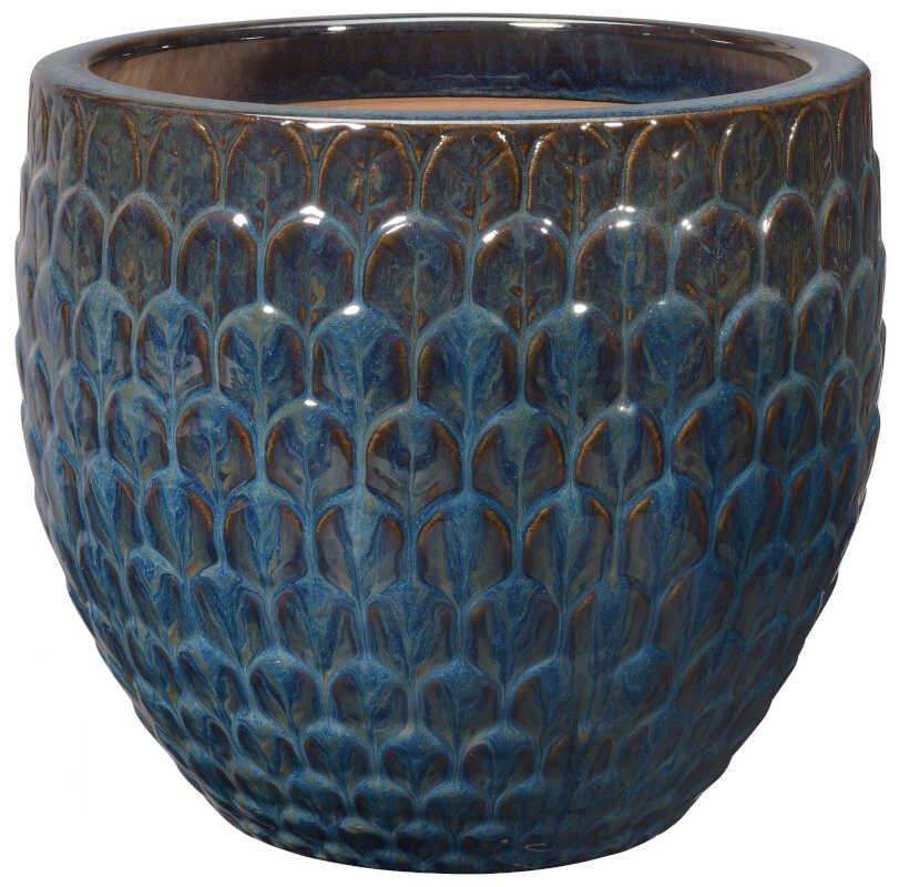 Egg Pot S/3 Blue w/ pattern