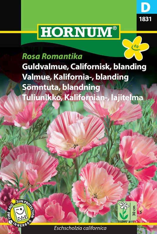 Guldvalmue frø - Californisk blanding Rosa Rød