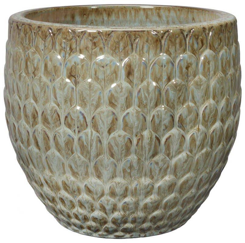 Egg Pot S/3 Brown w/ pattern